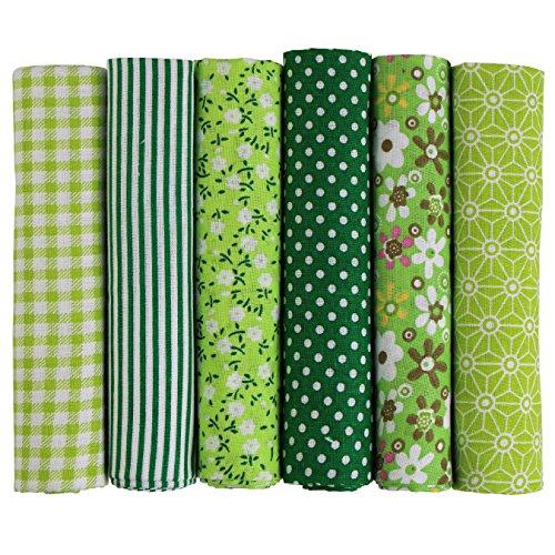 UOOOM 6 Stueck 50 x 50cm Stoffpakete Patchwork Stoffe Baumwolle tuch DIY Handgefertigte Nähen Quilten Stoff Baumwollgewebe Verschiedene Designs (Grün) -