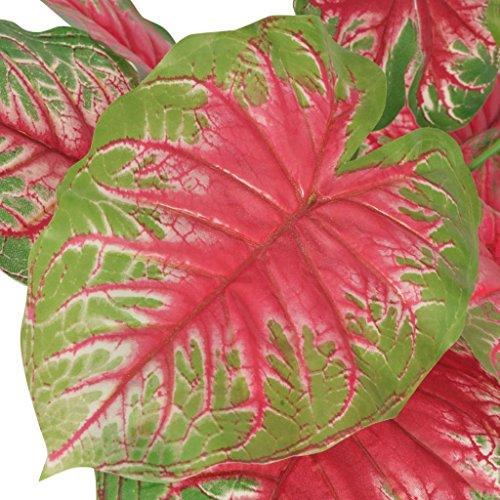 Festnight Kunstpflanze Kunstbaum Künstliche Caladium-Pflanze mit Topf 70 cm Grün und Rot