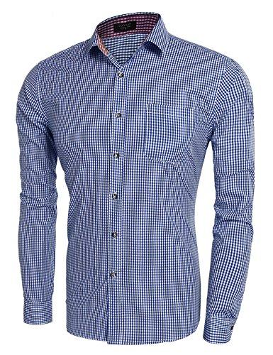 Coofandy Herren Trachtenhemd Hemd Karo Hemden Check Shirt Slim Fit Langarm Freizeit Kariert Oktoberfest Blau L