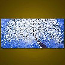 WeterCos (TM) sin marco rom¨¢ntico flor blanca moderna del ¨¢rbol Cuadro Abstracto cuchillo de gama de pintura mural de arte decoraci¨®n pintada a mano de la boda (40x80cm)