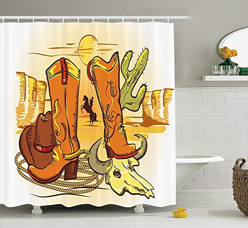 KRISTI MCCARTNEY Western Decor Shower Curtain Set, Illustration of Old Wild West Elements with Rope Shoes and Silhouette of Cowboy Print, Bathroom Accessories, 75 inches Long, Yellow Orange