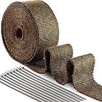 ilauke 50MM Titanium Magma Bande Isolant Thermique Céramique10M + 10 Colliers 20CM pour Tuyeau Manifold