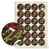 24 Adventskalenderzahlen 1 bis 24 Zahlen Aufkleber MÜTZE SANTA rot grün gepunktet für Kinder Sticker Adventskalender basteln 4 cm Weihnachtkalender mit Papiertüten selbermachen Nummern-Aufkleber