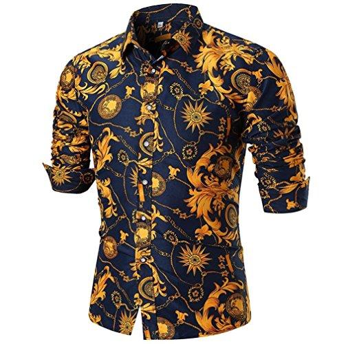 Camisa de manga larga impresa manga larga delgada ocasional del verano de los hombres de la personalidad de alta calidad blusa superior★Longra