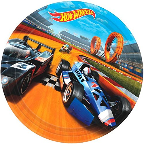 American Greetings Hot Wheels Round Plate (8 Count), 9