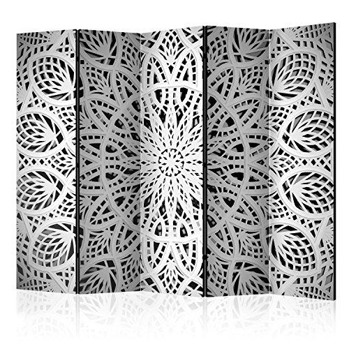 murando Raumteiler Foto Paravent 225x172 cm beidseitig auf Vlies-Leinwand Bedruckt Trennwand Spanische Wand Sichtschutz Raumtrenner Ornament Mandala schwarz weiß f-A-0581-z-c