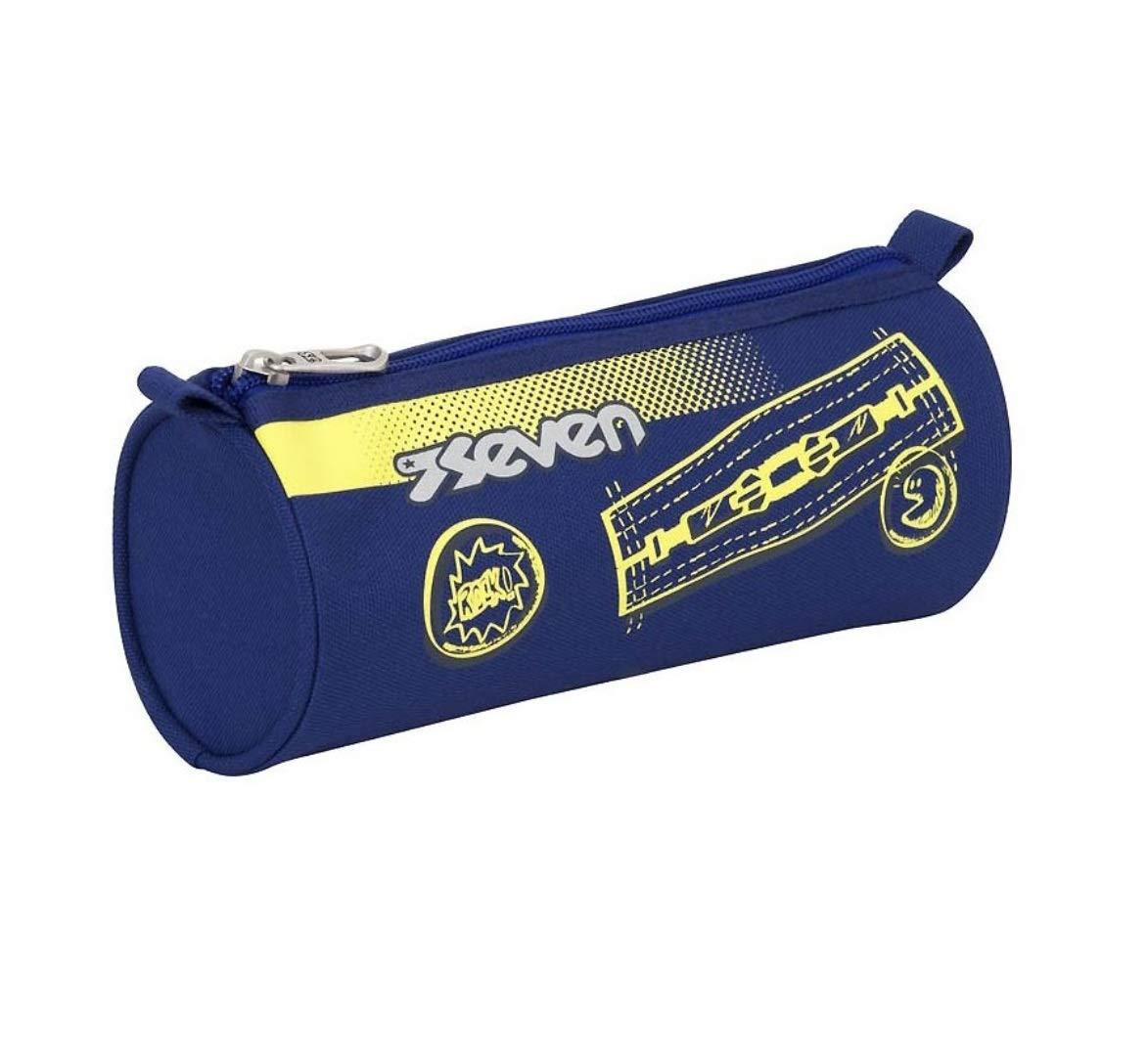 Estuche portalápices Seven Colorful Boy azul amarillo Caperucita + llavero silbato + bolígrafo de color