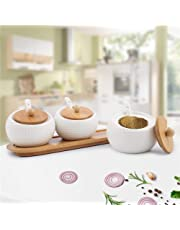 Kurtzy Ceramic Storage Organizer Jar for Pickle, Masala with Spoons and Tray, 250 ml (White) - Set of 3 Pieces