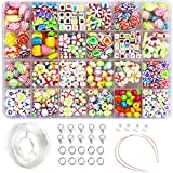 Ewparts 24 In 1 Brief Perlen Set für Schmuck Machen Kinder, Kinder Handwerk DIY Halskette...