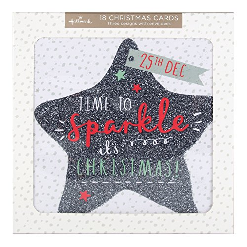 Hallmark Bumper Christmas Card Pack Time To Sparkle - 18 Cards, 3 Designs