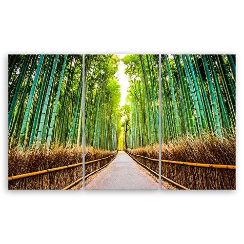 hochwertiges Leinwandbild XXL Naturbilder Landschaftsbilder - Bambus Wald in Kyoto - Japan - Natur Blumen grün - 165 x 100 cm mehrteilig (3 teilig) 2213 J