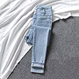 QJV Jeans Blu Chiaro Pantaloni a Vita Alta da Donna con Elastico in Vita Aderente Pettorali 26 Azzurro