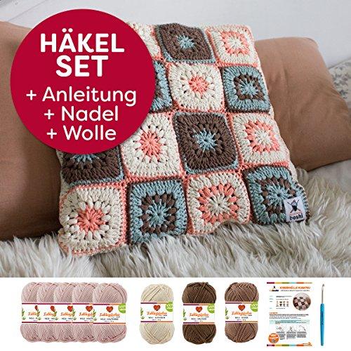 Myboshi Häkel-Set Kissenhülle Kusatsu im Granny Square Design Häkel-Anleitung + Label + 8x Häkelwolle (85% Baumwolle 15% Kapok): (hautfarbe, ocker, elfenbein, walnuss, mit Häkelnadel) -