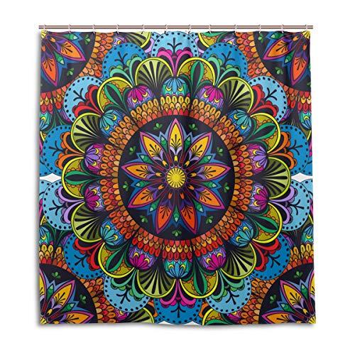 BIGJOKE Cortina de Ducha, Mandala India Floral Resistente al Moho, Impermeable, Tela de poliéster, 12 Ganchos, 66 x 72 Pulgadas, decoración del hogar