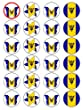 """X24 1.5"""" Barbados / Barbadian National Flag Cup Cake Toppers With Mixed Flowers and Butterflies Decorations on Edible Rice Paper"""