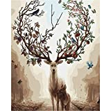 Blessing DIY Digital Leinwand-Ölgemälde, Malen Nach Zahlen Kits (40 x 50cm) mit 3 Bürsten und Acrylfarben Geschenk für Erwachsene und Kinder