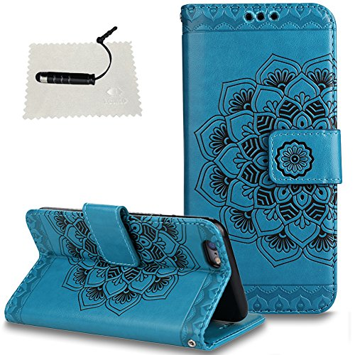 Schutzhülle iPhone 5 / 5S /SE HülleMandala Blumen Embossed, TOCASOSpiegel Rosegold Ultradünn Case Rückschale Cover iPhone 5 / 5S /SE 2 in 1 Electroplate Handyhülle Transparent Etui -Mandala Blau