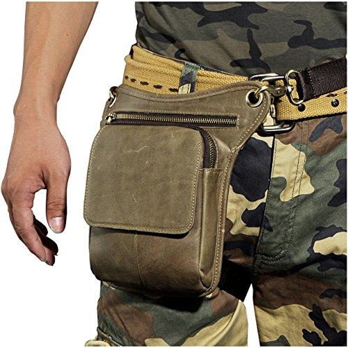 Le'aokuu Herren Leder Hüfttasche Gürteltasche Reiten Kleine Bein Tasche Schulter Beutel 211-1 grau 1