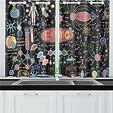 Formules scientifiques Calculs Physique Rideaux De Cuisine Rideaux De Fenêtre Niveaux pour Café, Bain, Blanchisserie, Salle De Séjour Chambre 26 X 39 Pouce 2 Pièces...