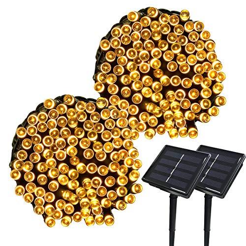 Yasolote 2 PACK 22M Luci Solare 200 LED Luci da Esterno Luci Stringa Illuminazione per Natalizi Catene Luminosa Decorazione Natalizie Albero di Natale Giardino Patio