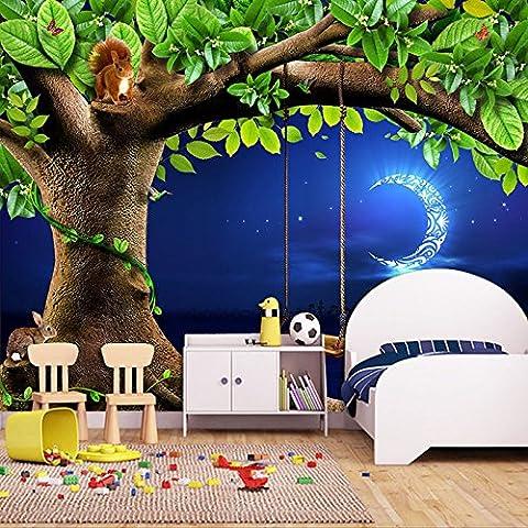 Ohcde Dheark Custom 3D Fototapete Nacht Himmel Mond Baum Tiere Eichhörnchen Hase Kinderzimmer Schlafzimmer Wandbild Tapete Wand Dekor 250cmX175cm(98.4 by 68.9 in )