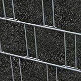Zaundruck Milano (anthrazit) - Design Vlies Sichtschutz Streifen für Doppelstabmattenzaun inkl. Klemmschienen - PVC frei