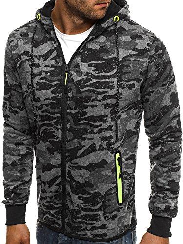 ozonee uomo maglia pullover felpa con cappuccio mimetico PULLOVER SPORTIVI J. STYLE dd99-10 Grigio scuro