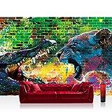Fototapete 368x254 cm PREMIUM Wand Foto Tapete Wand Bild Papiertapete - Graffiti Tapete Steinwand Steine Graffiti Tiere Krokodil Löwe Wasser bunt - no. 1918