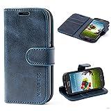 Mulbess Custodia per Samsung Galaxy S4 Mini, Cover Samsung Galaxy S4 Mini Pelle, Flip Cover a Libro, Custodia Portafoglio per Samsung Galaxy S4 Mini, Navy Blu