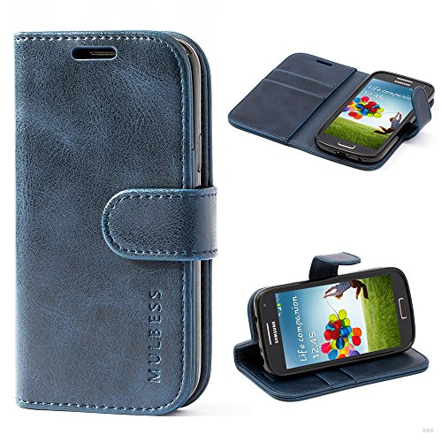 Mulbess (Vintage bookstyle) Premium Handy Schutzhülle Ledertasche im Kartenfach für Samsung Galaxy S4 Mini (4,3 Zoll) Tasche Hülle Leder Etui Schale,Dunkelblau