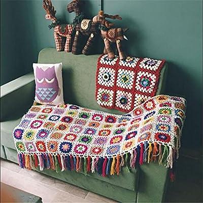 Campo nórdicos hecho a mano tejido a ganchillo manta, toalla de alfombra de punto, sofá, sofá cojín, diseño de flores, Set de alfombrillas, ropa de cama alfombra
