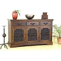 Strata Furniture Rosewood/Sheesham Wood Sideboard Storage Cabinet Tables for Living Room (JS-SB-CB-TB-D2, Walnut Finish…