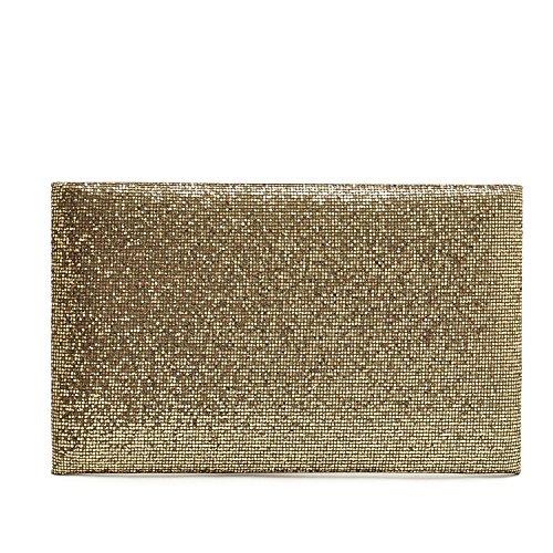 URAQT-Vestito da sera glitterato borsetta Clutch-Borsa da donna, oro (Oro) - XBPJ6-SNB-001-GO_UK oro