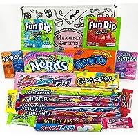 Cesta Americana caramelos Wonka | Golosinas y barra de caramelos de selección en caja regalo | Surtido incluye Wonka Nerds Gobstoppers | 21 artículos de caramelos Retro