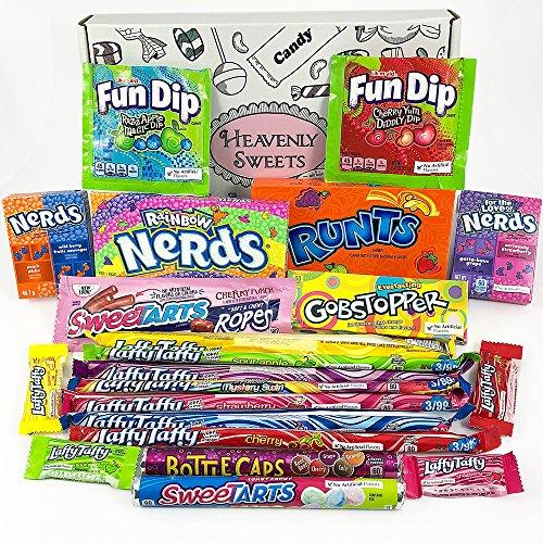 Amerikanische Wonka-Süßigkeiten Geschenkkorb | Süßigkeiten aus den USA | Auswahl beinhaltet Wonka Nerds, Gobstoppers | 21 Produkte in einer tollen retro Geschenkebox -