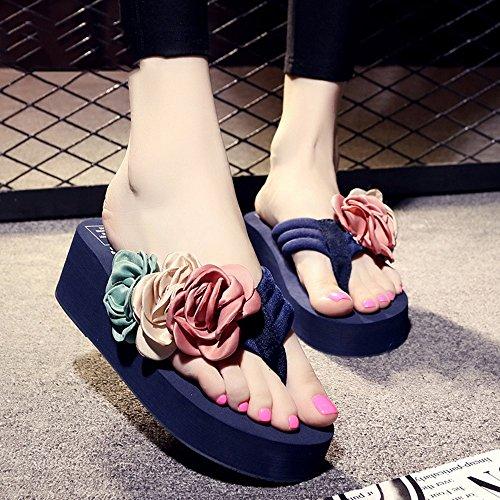 Estate Sandali 5.5cm I pistoni freddi antiscivolo (nero, beige, marrone, blu scuro, azzurro, rosa, bianco) Colore / formato facoltativo Il blu scuro.