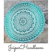 Jaipur Handloom Tapiz redondo de algodón, diseño de mandala, para uso como toalla de