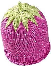 Newborn Erdbeermütze aus leichter Baumwolle in rosa, Kopfumfang 34-36cm
