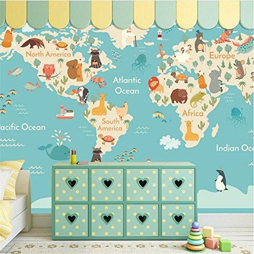 JIAJU Wallpaper Cute Animal Weltkarte 3D Custom Wandbild für Kinder Schlafzimmer/Wohnzimmer/Kindergarten/Themenhotels/Freizeitparks, B