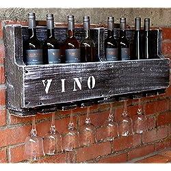 Botellero vino copa de vino-Soporte 90cm de ancho Madera Marrón