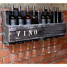 Weinregal VINO Wein Glas Gläserhalter Flaschenregal 90 Cm Breit Holz Braun