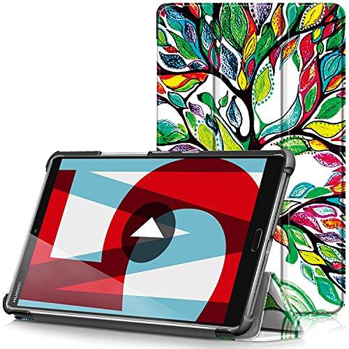 TTVie Hülle für Huawei MediaPad M5 8.4 - Ultra Dünn PU Leder Schutzhülle mit Standfunktion und Auto Aufwachen/Schlaf Funktion für Huawei MediaPad M5 21,34 cm (8,4 Zoll) Tablet-PC, Bunte Baum -