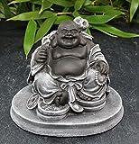 Bouddha rieur, gris ardoise, pierre reconstituée