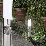 MIA Light Sockelleuchte/Steckdosensäule/Pollerleuchte Wegeleuchte Wegleuchte Außenleuchte Gartenleuche Sockellampe Pollerlampe Wegelampe Weglampe Außenleuchte/Edelstahl