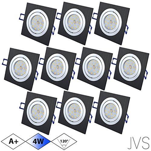 Spot LED encastrable orientable Star Carré Noir Brossé avec kit x 4 W Spot Blanc Froid 230 V IP20 LED encastrable Spot encastrable Couverture encastrable Spot à encastrer au plafond, Lot de 10, GU10 4.00 230.00 volts