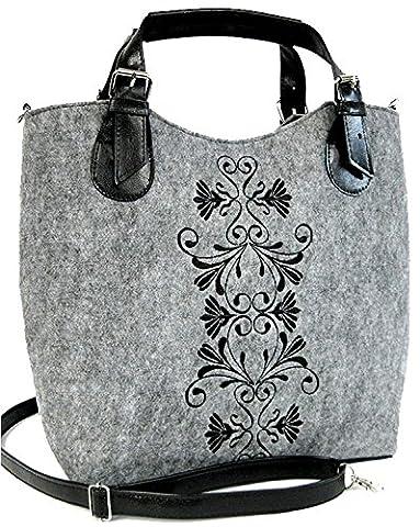 Damen Tasche Schultertasche Excent ornament Filz Aufdruck (Grau)