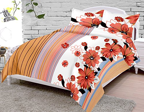 SheetKart-Double-Bedsheet-with-2-Pillow-Covers-Cotton-Floral-Premium-144-TC-Peach-and-White