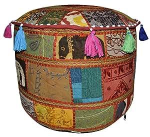 Main Motif Ethnic Multicolore broderie de repose-pieds ottomane Vintage 43 x 43 x 33 Cm