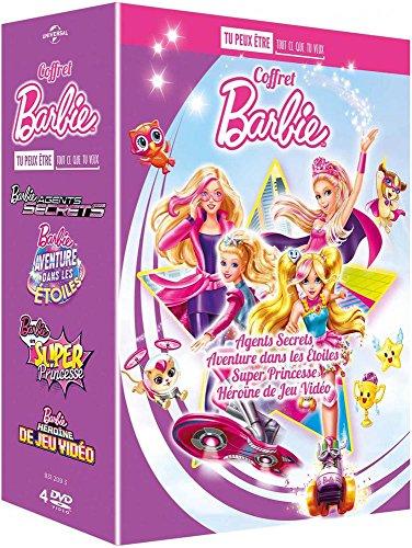 Barbie - Coffret Tu peux être ce que tu veux : Agents secrets + Aventure dans les étoiles + Super princesse + Héroïne de jeu vidéo