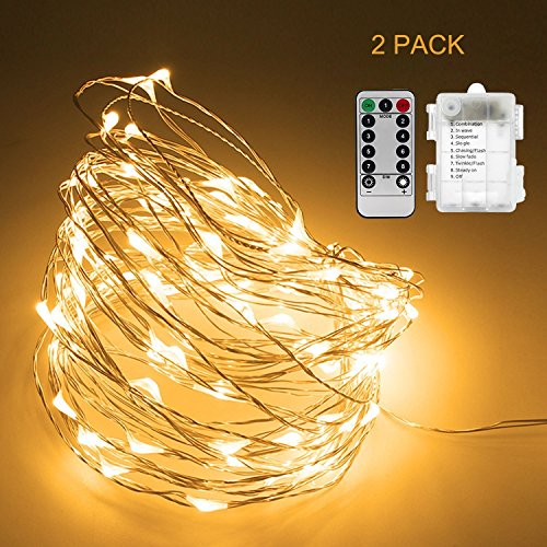 AOMEES Girlanden Lichter Lichterkette 5 Mt 8 Modi Batterie Wasserdicht 50 LED Fee Girlande mit Fernbedienung für Schlafzimmer Hochzeit Halloween Garten Dekoration 2 Pack (Warmweiß)